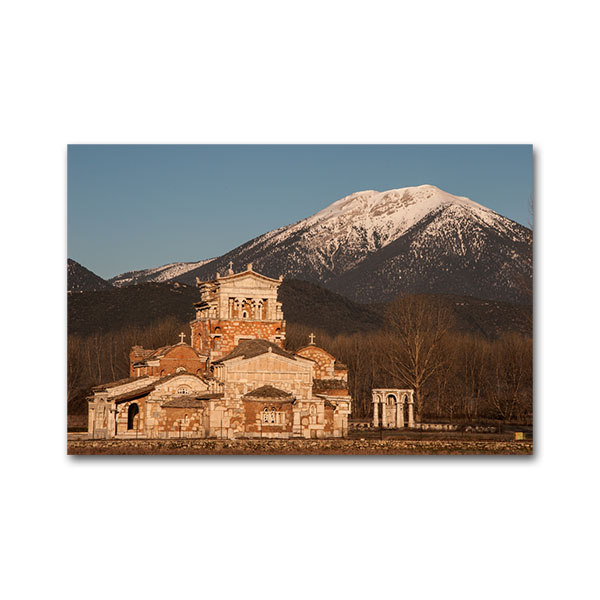 The church of Aghia Fotini, built on the archaeological site of Madineia by architect Constantine Papatheodorou. Madineia, Arcadia, Peloponnese, Greece