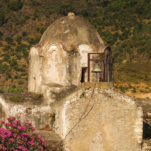 The Byzantine church of Aghia Varvara (Saint Barbara). Skoutari, Laconia, Peloponnese