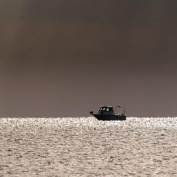 Fishing boat near Astros. Arcadia, Peloponnese, Greece